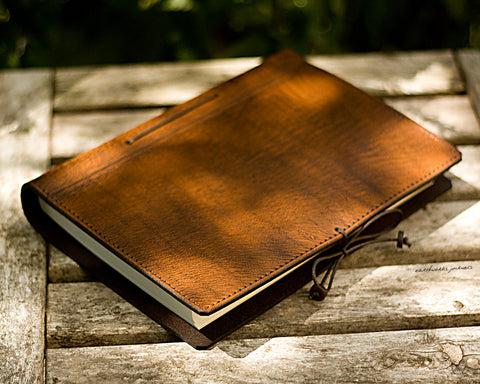 A5 brown leather journal - plain classic 3 - earthworks journals A5PC003
