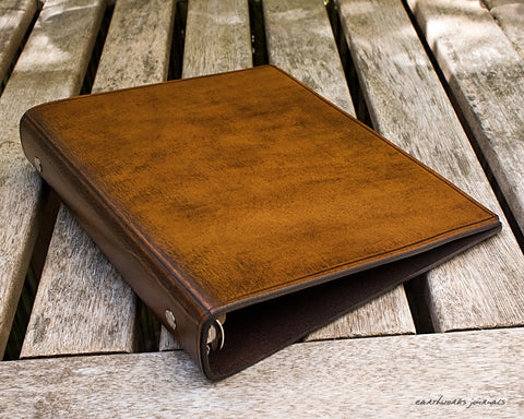A5 brown leather 6 ring binder - organiser - planner - plain classic - earthworks journals A5F003