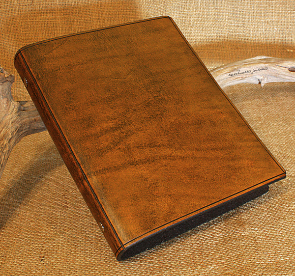 A5 brown leather slimline 6 ring binder - organiser - planner - plain classic - earthworks journals A5SF001