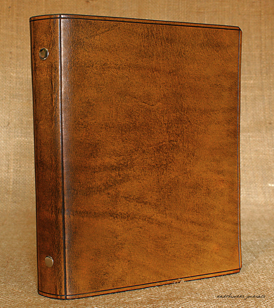 A5 brown leather slimline 6 ring binder - organiser - planner - plain classic 2 - earthworks journals A5SF001