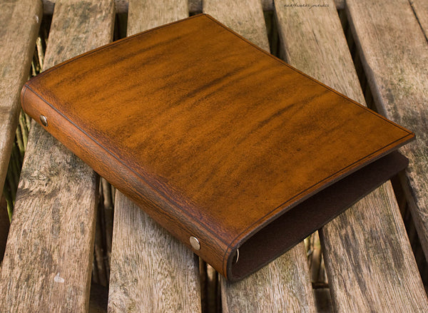 A5 brown leather slimline 6 ring binder - organiser - planner - plain classic 3 - earthworks journals A5SF001