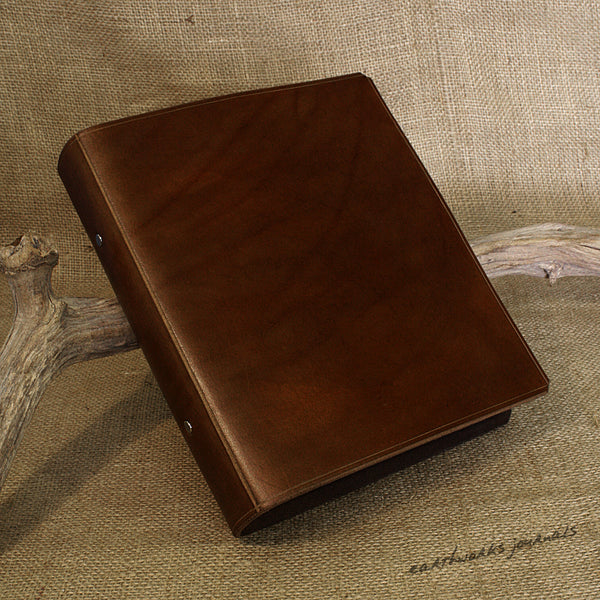 A5 dark brown leather 2 ring binder - plain classic 2 - earthworks journals A5B001