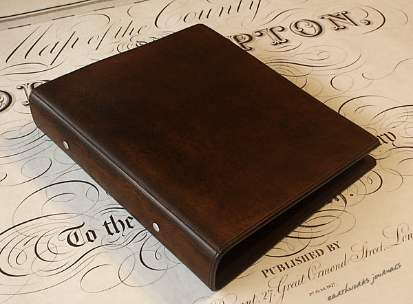 A5 dark brown leather 2 ring binder - plain classic - earthworks journals A5B001