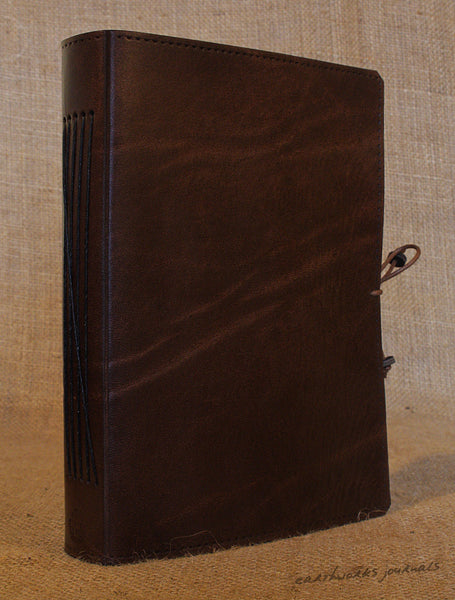 A5 dark brown leather journal - plain classic 2 - earthworks journals A5PC005