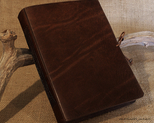 A5 dark brown leather journal - plain classic - earthworks journals A5PC005