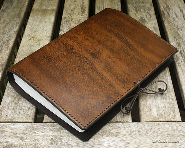 A5 dark brown leather journal - plain classic 6 - earthworks journals A5PC005