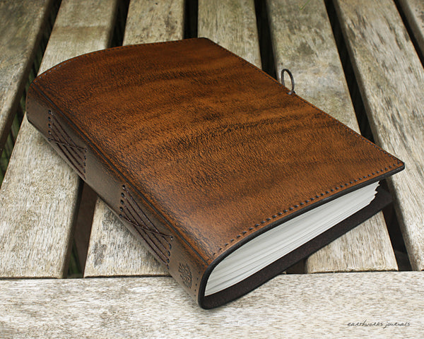 A5 dark brown leather journal - plain classic 5 - earthworks journals A5PC005