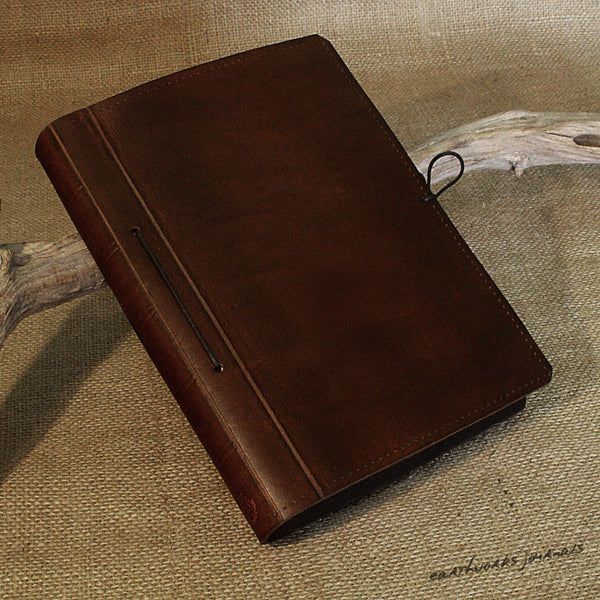 A5 dark brown leather journal - plain classic 2 - earthworks journals A5PC007
