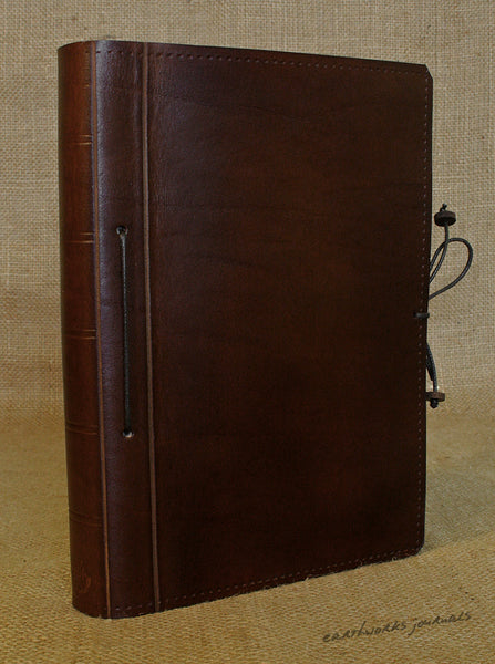 A5 dark brown leather journal - plain classic 3 - earthworks journals A5PC007