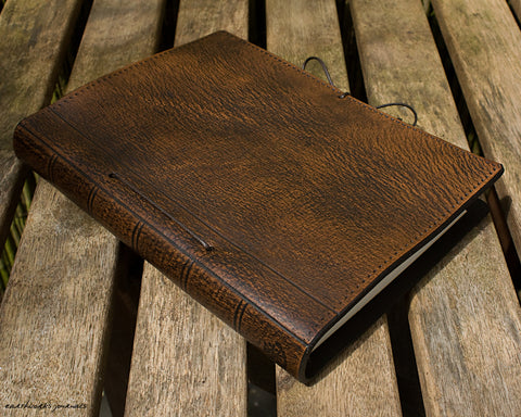 A5 dark brown leather journal - plain classic - earthworks journals A5PC007