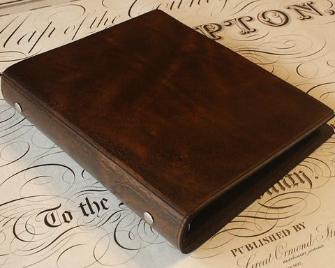 A5 dark brown leather 6 ring binder - organiser - planner - plain classic - earthworks journals A5F001