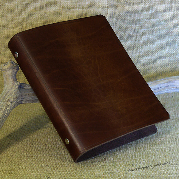 A5 dark brown leather 6 ring binder - organiser - planner - plain classic 2 - earthworks journals A5F001