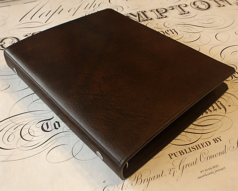 A5 dark brown leather slimline 6 ring binder - organiser - planner - plain classic - earthworks journals A5SF003
