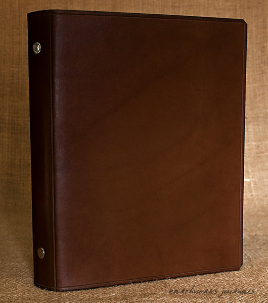 A5 dark brown leather slimline 6 ring binder - organiser - planner - plain classic 2 - earthworks journals A5SF003