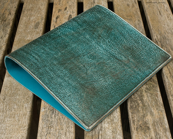 a5 distressed sea blue leather 2 ring binder 2 - planner - earthworks journals - A5BC005