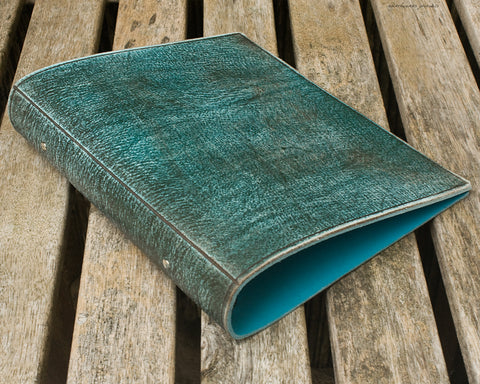 a5 distressed sea blue leather 2 ring binder - planner - earthworks journals - A5BC005