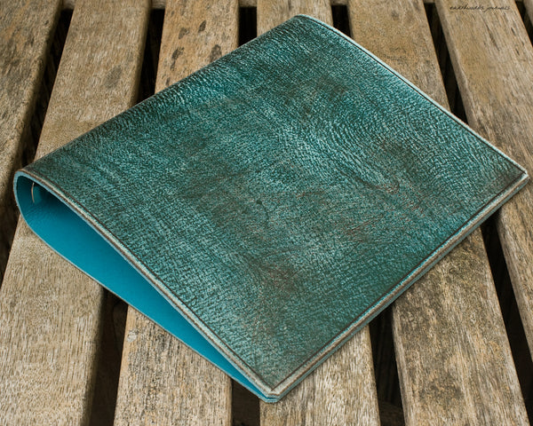 a5 distressed sea blue leather 6 ring binder 2 - organiser - planner - earthworks journals - A5FC005
