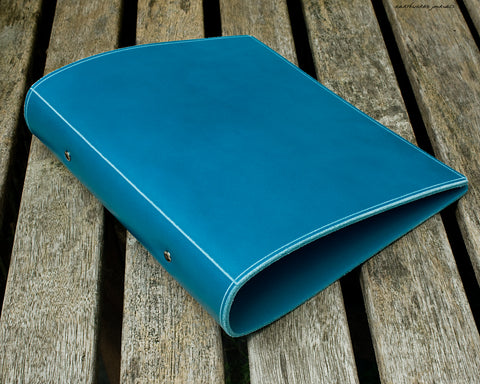 a5 sky blue leather 2 ring binder - planner - earthworks journals - A5BC004