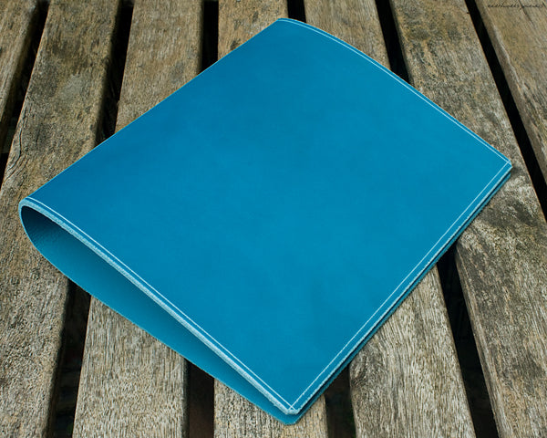 a5 sky blue leather 2 ring binder 2 - planner - earthworks journals - A5BC004