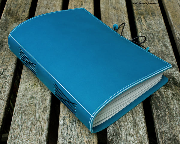 a5 classic sky blue leather journal 2 - permanently bound - earthworks journals - A5PC008