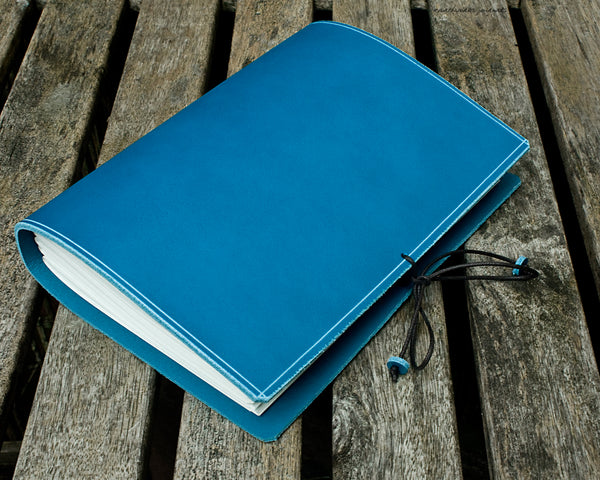 a5 classic sky blue leather journal 3 - permanently bound - earthworks journals - A5PC008