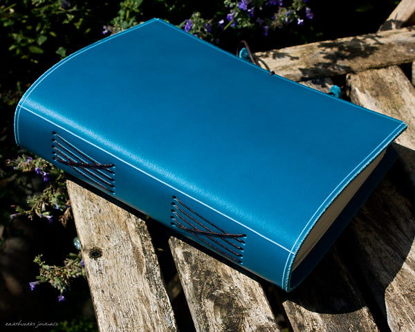 a5 classic sky blue leather journal - permanently bound - earthworks journals - A5PC008