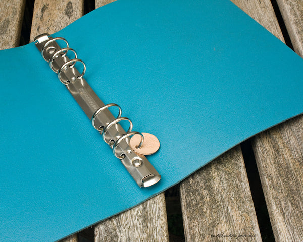 a5 distressed sea blue leather 6 ring binder open - organiser - planner - earthworks journals - A5FC005