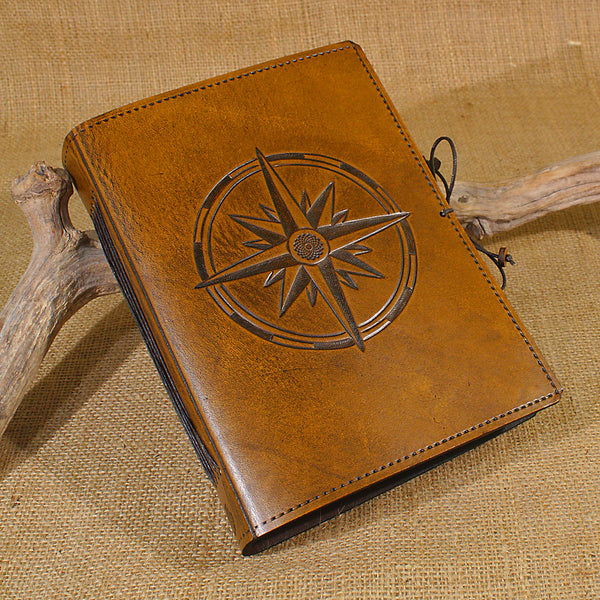 A5 brown leather journal - compass rose 2 - earthworks journals - A5C033