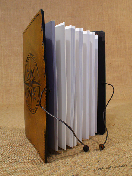 A5 brown leather journal - compass rose open - earthworks journals - A5C033