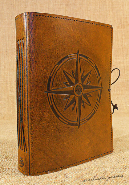 A5 brown leather journal - compass rose 3 - earthworks journals - A5C033