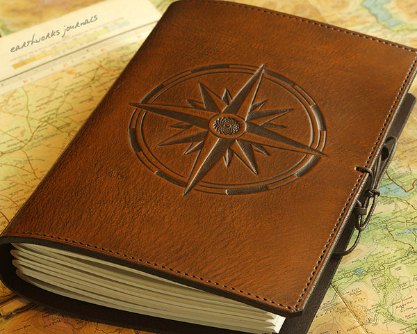 A5 brown leather journal - compass rose - earthworks journals - A5C033