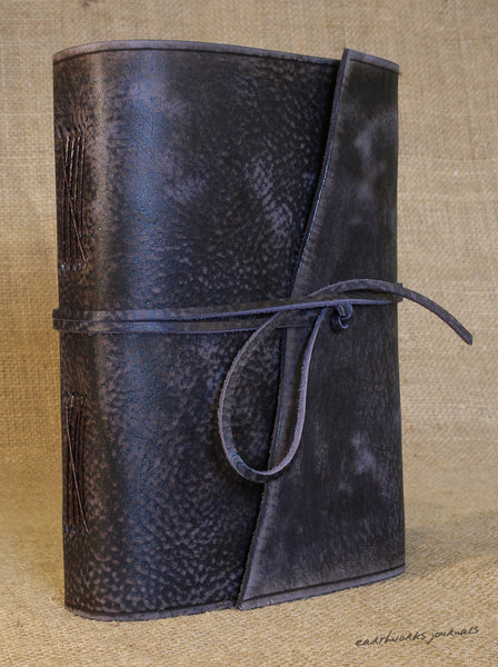 A5 distressed blue leather journal 3 - wraparound - earthworks journals - A5W015