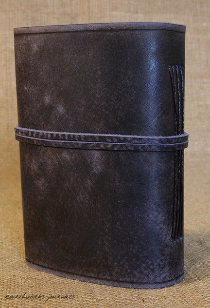 A5 distressed blue leather journal 5 - wraparound - earthworks journals - A5W015