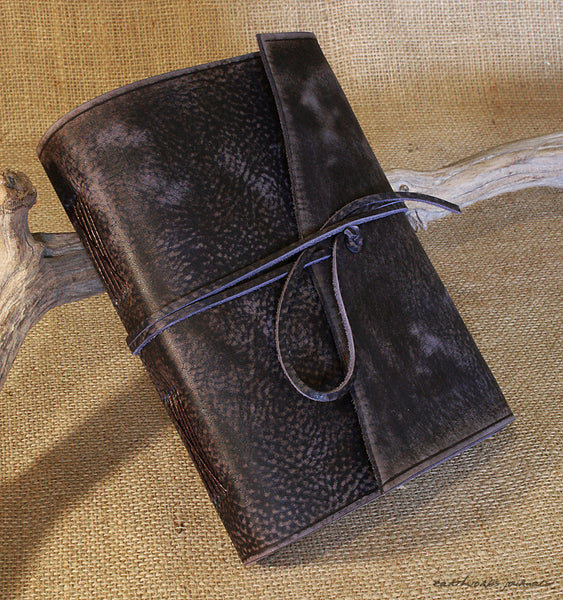 A5 distressed blue leather journal 2 - wraparound - earthworks journals - A5W015