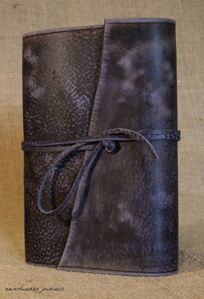A5 distressed blue leather journal 4 - wraparound - earthworks journals - A5W015