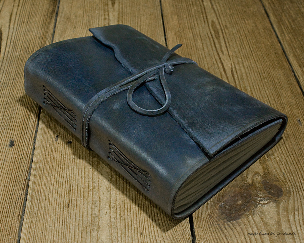 A5 distressed blue leather journal - wraparound 4 - earthworks journals - A5W015