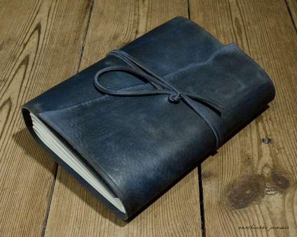 A5 distressed blue leather journal - wraparound 5 - earthworks journals - A5W015