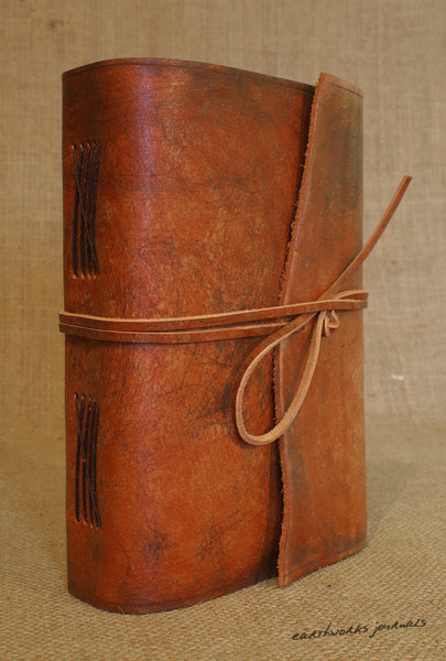 A5 distressed brown leather journal 4 - wraparound - earthworks journals - A5W002