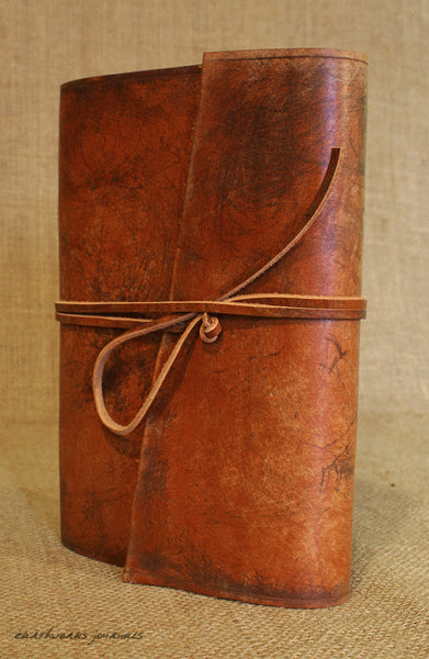 A5 distressed brown leather journal 5 - wraparound - earthworks journals - A5W002