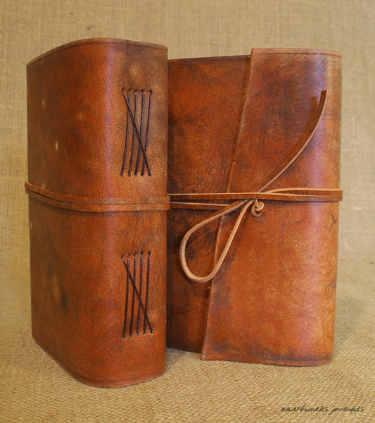 A5 distressed brown leather journal group 1 - wraparound - earthworks journals - A5W002