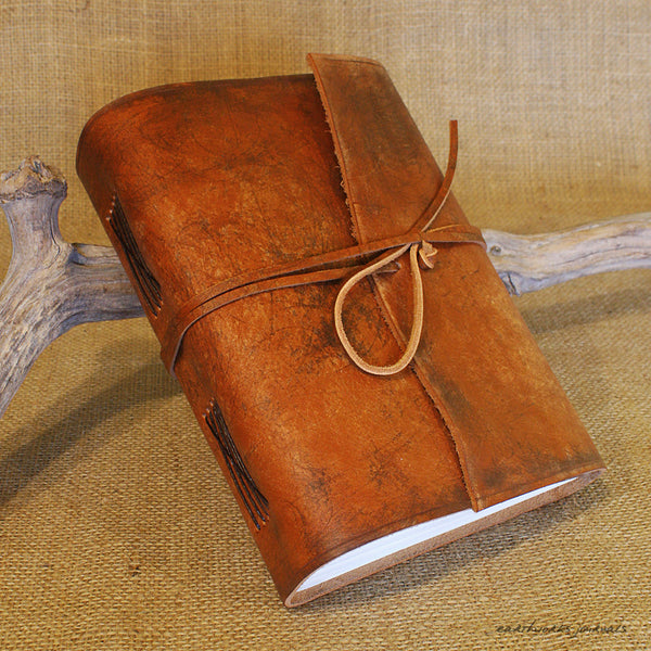A5 distressed brown leather journal 3 - wraparound - earthworks journals - A5W002