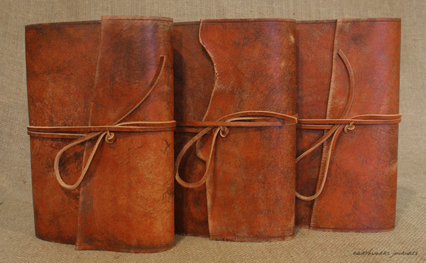 A5 distressed brown leather journal group 2 - wraparound - earthworks journals - A5W002