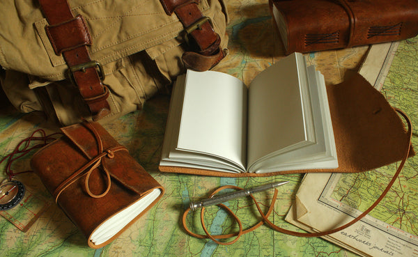 A6 distressed brown leather journal - wraparound open - earthworks journals - A6W001