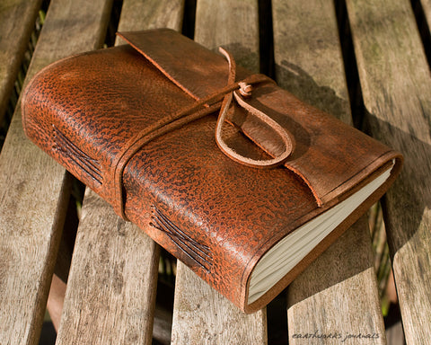 A5 distressed brown leather journal - wraparound - earthworks journals - A5W002