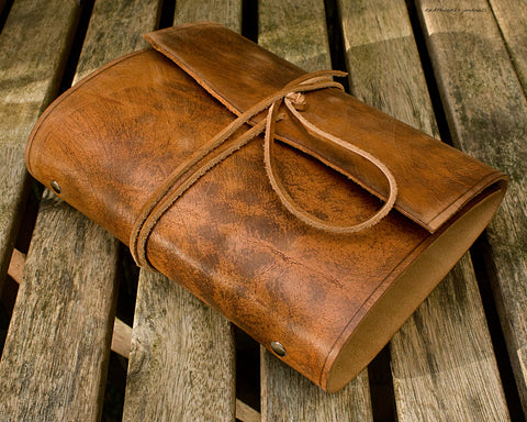 A5 distressed brown leather organiser - wraparound - earthworks journals - A5WB003