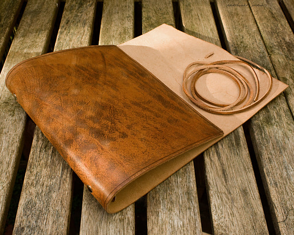 A5 distressed brown leather organiser - wraparound 2 - earthworks journals - A5WB003