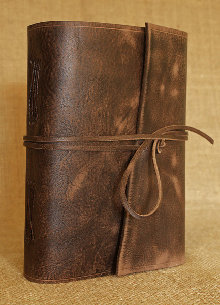 A5 distressed dark brown leather journal 4 - wraparound - earthworks journals - A5W012