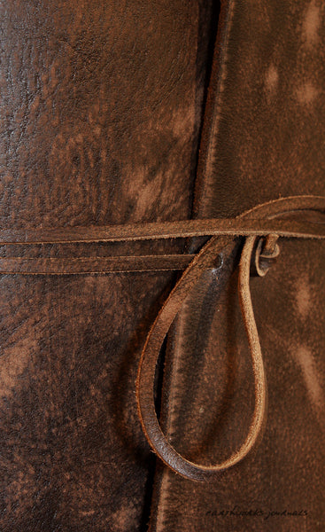 A5 distressed dark brown leather journal detail - wraparound - earthworks journals - A5W012