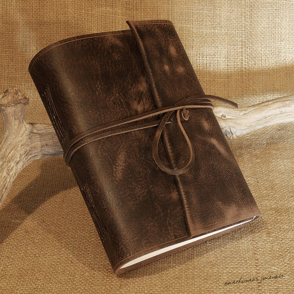 A5 distressed dark brown leather journal 3 - wraparound - earthworks journals - A5W012