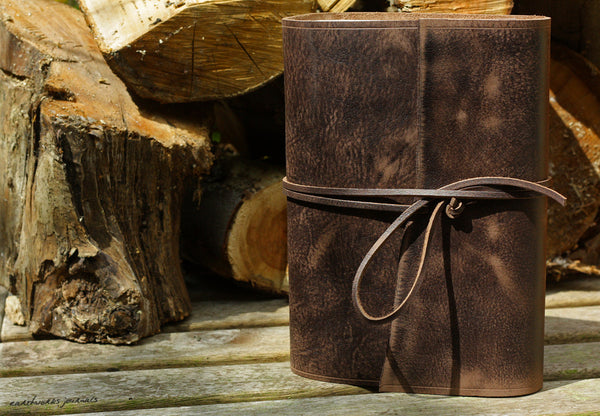 A5 distressed dark brown leather journal 2 - wraparound - earthworks journals - A5W012